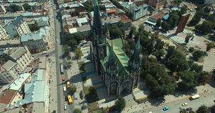 Aerial view of cathedral. Aerial view of gothic cathedral. Lviv, Ukraine Europe stock video footage