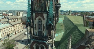 Aerial view of cathedral. Aerial view of gothic cathedral. Lviv, Ukraine Europe stock footage