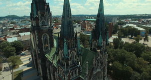 Aerial view of cathedral. Aerial view of gothic cathedral. Lviv, Ukraine Europe. Aerial view of cathedral. Greek Catholic Temples stock footage
