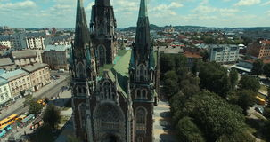 Aerial view of cathedral. Greek Catholic Temples stock video footage