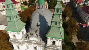Aerial view Cathedral, lake, quay Ternopil, Ukraine stock video