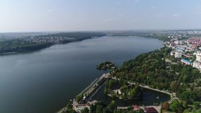 Aerial view Cathedral,lake, quay Ternopil, Ukraine stock footage