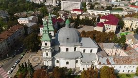 Aerial view Cathedral,lake, quay Ternopil, Ukraine stock video