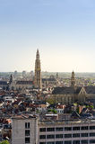 Aerial view on the Cathedral of Our Lady and the Church of Saint Paul in Antwerp Stock Photography