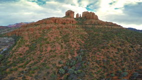 Aerial view of Cathedral Rock stock video footage