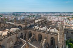 Aerial view of Cathedral of Sevilla from La Giralda, Sevilla royalty free stock image