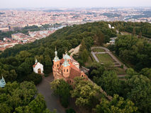 Aerial view of Cathedral of St. Lawrence and Prague city from the Petrin hill Stock Photo