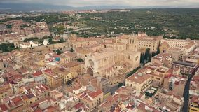 Cathedral of Tarragona. Aerial view of Cathedral of Tarragona stock video footage