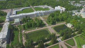 Aerial view of Catherine palace and Catherine park. In Pushkin, Russia stock footage