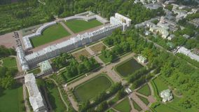 Aerial view of Catherine palace and Catherine park. In Pushkin, Russia stock video footage