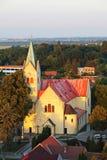 Aerial view catholic church Stock Image