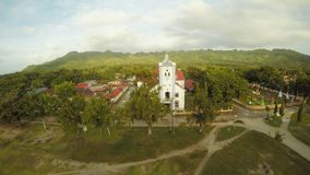 Aerial view Catholic Church in the Philippines. Anda. Poblacion city. Aerial view Catholic Church in the Philippines. Anda. Poblacion city stock video footage