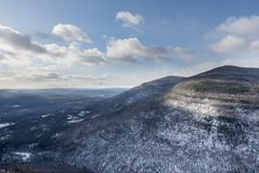 Catskill Mountains in Winter. An aerial view of the Catskill Mountain Eastern Escarpment in winter royalty free stock photography