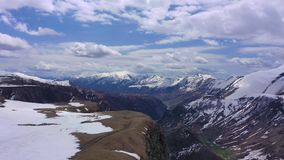 Aerial view. Caucasus Mountains. Mountains covered with snow stock footage