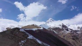 Aerial view of the Caucasus mountains in Georgia. Mount Kazbek stock footage