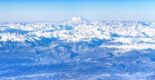 Aerial view of Caucasus mountains and Mount Elbrus Stock Photo
