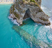 Aerial view of a cave. Promontory, cliff overlooking the sea, Tropea, Calabria. Italy Stock Image