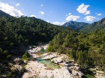 Aerial  view of Cavu natural pool near Tagliu Rossu and Sainte L Stock Photography