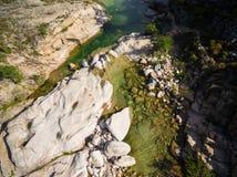 Aerial  view of Cavu natural pool near Tagliu Rossu and Sainte L Stock Image