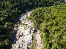 Aerial  view of Cavu natural pool near Tagliu Rossu and Sainte L Royalty Free Stock Photo