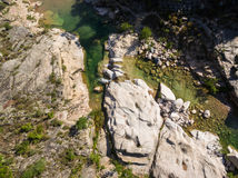 Aerial  view of Cavu natural pool near Tagliu Rossu and Sainte L Royalty Free Stock Photos