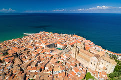 Aerial view of the Cefalu cathedral, Sicily, Italy. Stock Image
