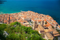Aerial view of Cefalu Duomo Cathedral Stock Photos