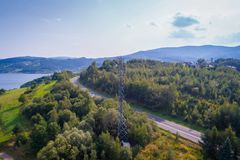 Aerial view of cellular network relay. Located in Polish mountains Royalty Free Stock Image