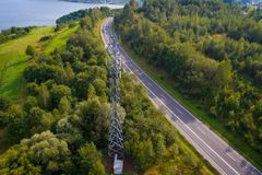 Aerial view of cellular network relay. Located in Polish mountains Stock Photography