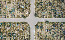 Aerial view cemetry Royalty Free Stock Photography