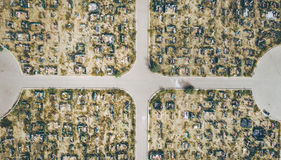 Aerial view cemetry Stock Photo