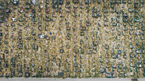 Aerial view cemetry Royalty Free Stock Photos