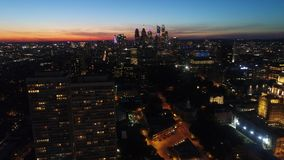 Aerial view center city Philadelphia just after sunset.  stock video footage