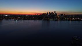 Aerial view center city Philadelphia just after sunset.  stock footage