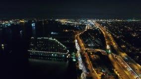Aerial View Center City Philadelphia & Surrounding Area at Night stock video footage