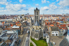 Aerial view on the center of Ghent with Saint Nicholas Church in Belgium Stock Image