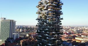 Aerial view of the center of Milan, panoramic view of the Vertical Forest, Milan, Porta Nuova residences and skyscrapers, Italy, stock footage
