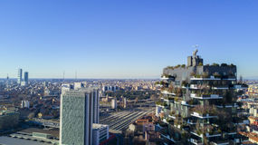 Aerial view of the center of Milan, Vertical Forest and Garibaldi Station, Italy Stock Image