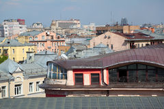 Aerial view of the center of Moscow. Russia. In the foreground of the panorama - the attic of an old house built by architect Boni (in 1900) in Art Nouveau Stock Photography