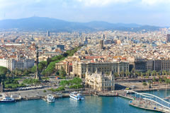 Aerial view of central Barcelona. Central embankment of Barcelona with Columbus statue, La Rambla street and promenade, Spain Royalty Free Stock Images
