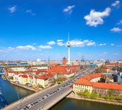 Aerial view of central Berlin on a bright day in Spring, includi Royalty Free Stock Photography