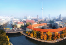 Aerial view of central Berlin on a misty morning Stock Photography