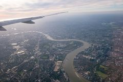 Aerial view of Central London through airplane window. 2017 Stock Images