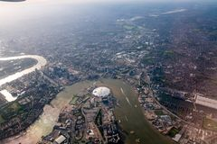 Aerial view of Central London through airplane window. 2017 Stock Photo