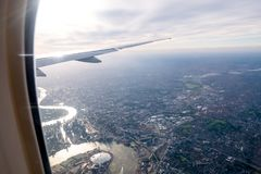 Aerial view of Central London through airplane window. In UK 2017 Royalty Free Stock Images