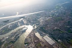 Aerial view of Central London through airplane window. In UK 2017 Stock Photography