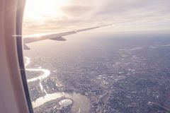 Aerial view of Central London through airplane window vintage c. Olour Stock Image