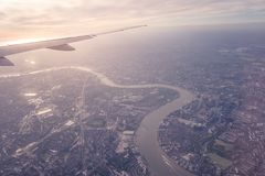 Aerial view of Central London through airplane window vintage c. Olour Stock Photography