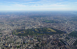 Aerial view of Central London and Hyde Park. Aerial view of Central London in England from an airplane window Royalty Free Stock Photos