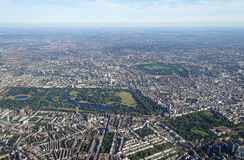 Aerial view of Central London and Hyde Park. Aerial view of Central London in England from an airplane window Stock Photos